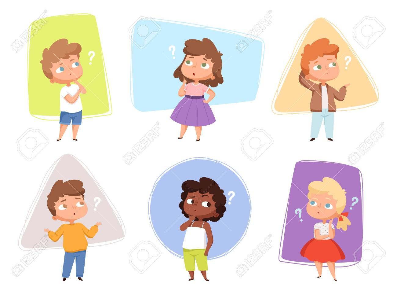 Thinking kids. Children asking question expression and question marks teens vector characters. Kids asking question, expression confuse, puzzled and confused children illustration - 149848015