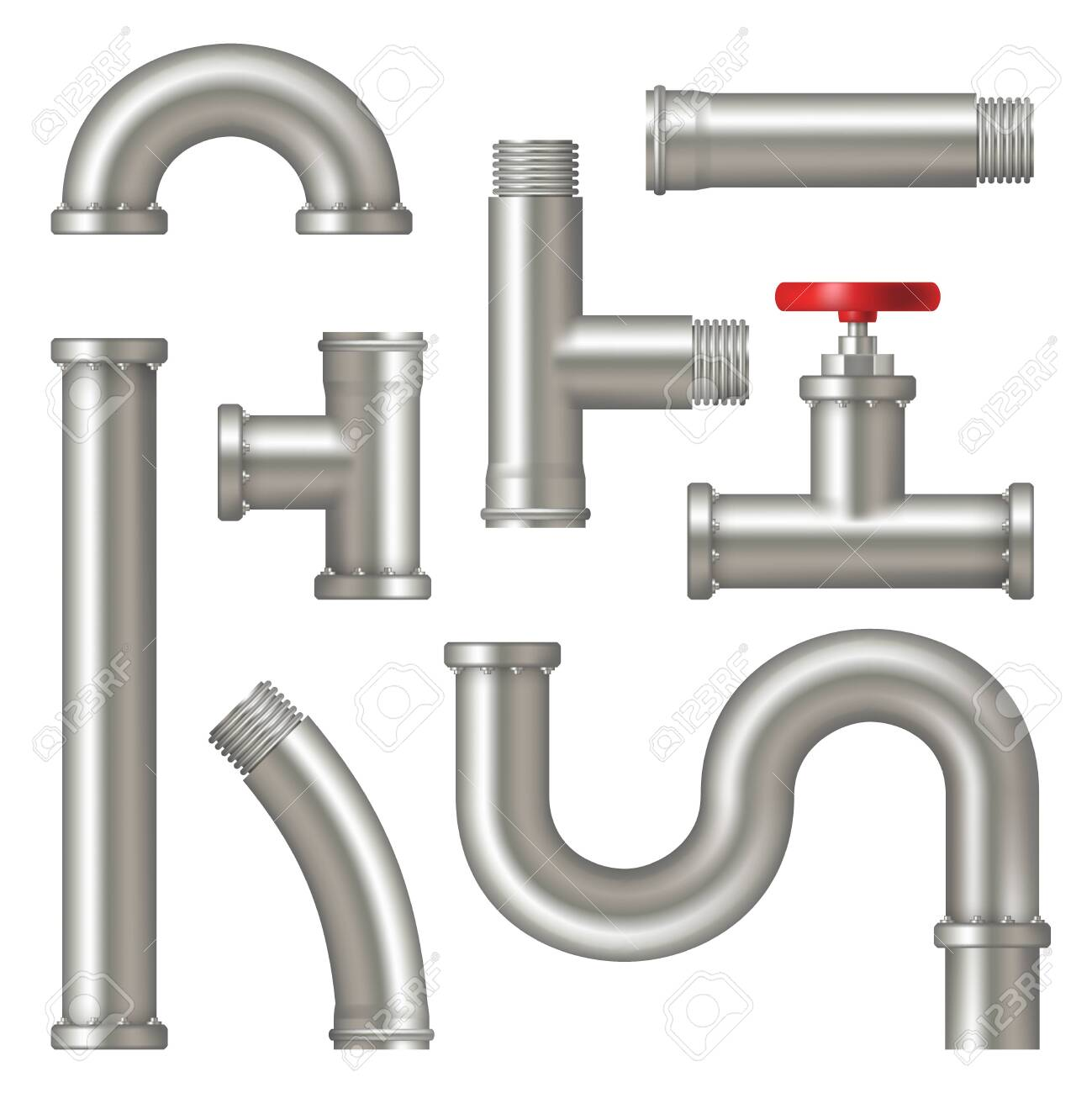 Steel pipes. Realistic picture of water tubes systems with cranes curved factory oil or gas pipelines vector set. Pipe metal steel, pipeline plumbing illustration - 153302579