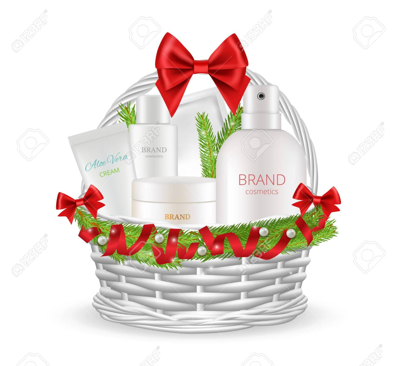 Holiday Gift Realistic Christmas Basket With Different Cosmetics Royalty Free Cliparts Vectors And Stock Illustration Image 153719842