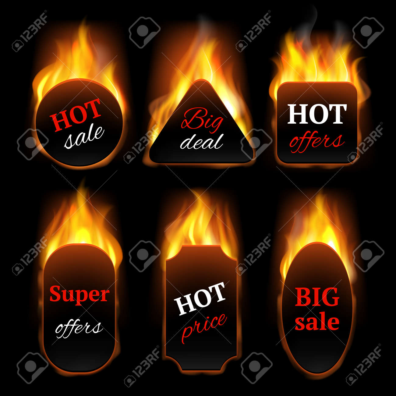 Hot special offers. Promo banners with fire flame vector realistic templates. Illustration hot offer and fire sale, flame discount, advertising clearance black promo sale - 156950612