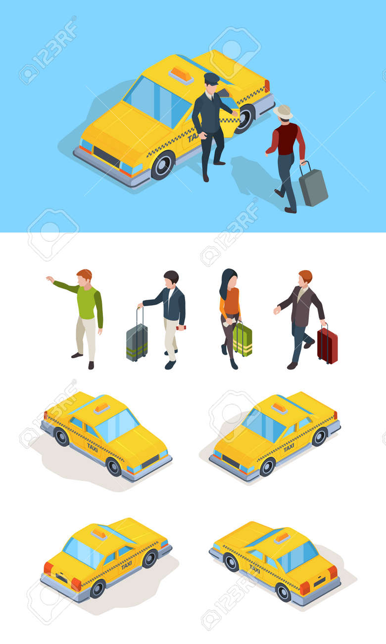 Taxi service. Travellers passengers call taxi with luxury driver professional chauffeurs yellow isometric cars vector pictures. Taxi driver and passenger, yellow car transport service illustration - 157350084