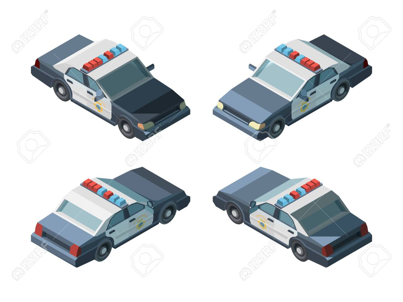Police car. Emergency isometric vehicles different views police chase vector. Transport emergency police car, vehicle isometric and 3d automobile illustration - 157765972