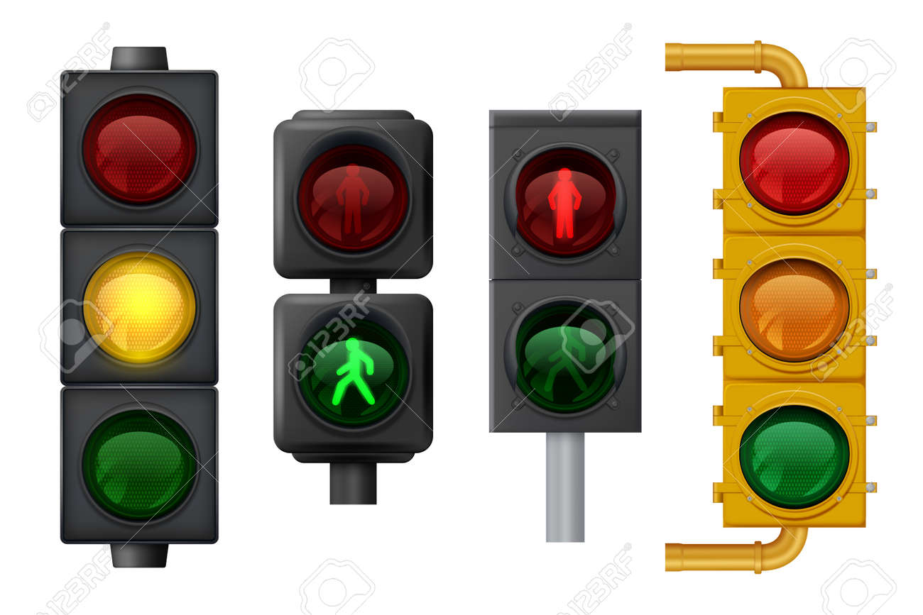 Traffic lights realistic. Urban light objects on road vector signs for transport. Traffic stoplight for safety trasportation on road illustration - 159867262