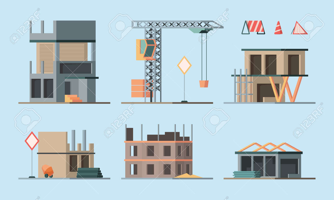 Construction stages. Building houses foundation workers making brick walls little houses and big skyscraper garish vector flat ortogonal colored illustrations collection - 165728296