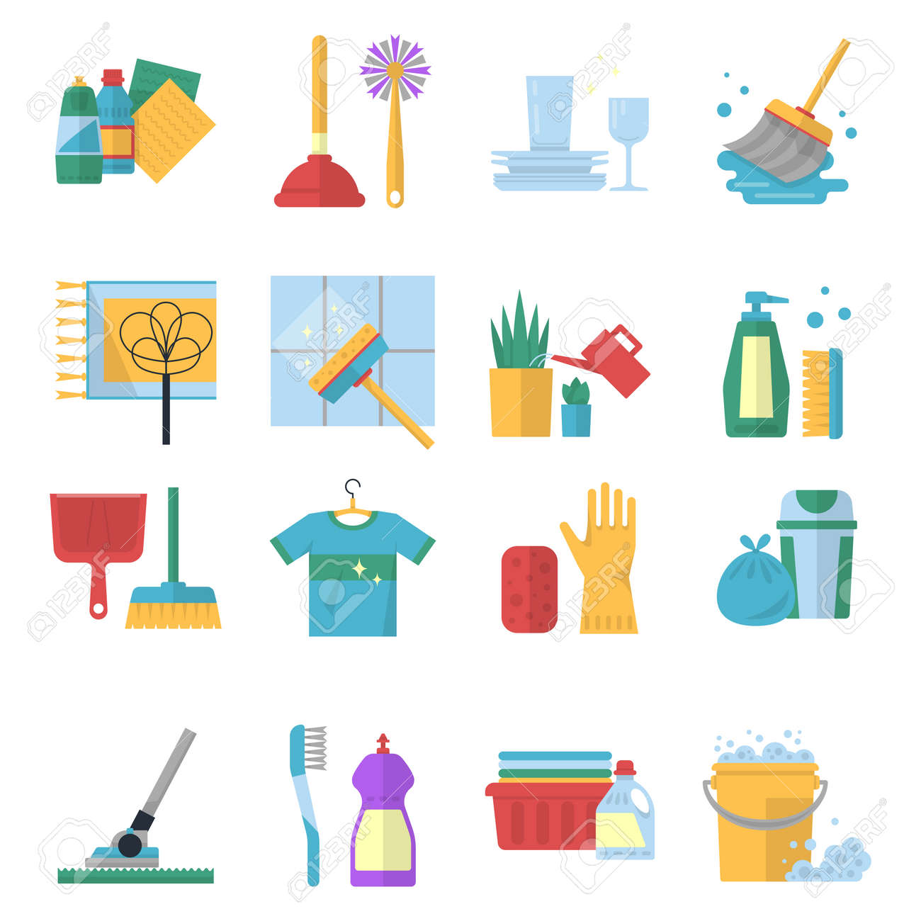 Vector symbols of cleaning services in cartoon style. Brush, dust and bucket - 165878358