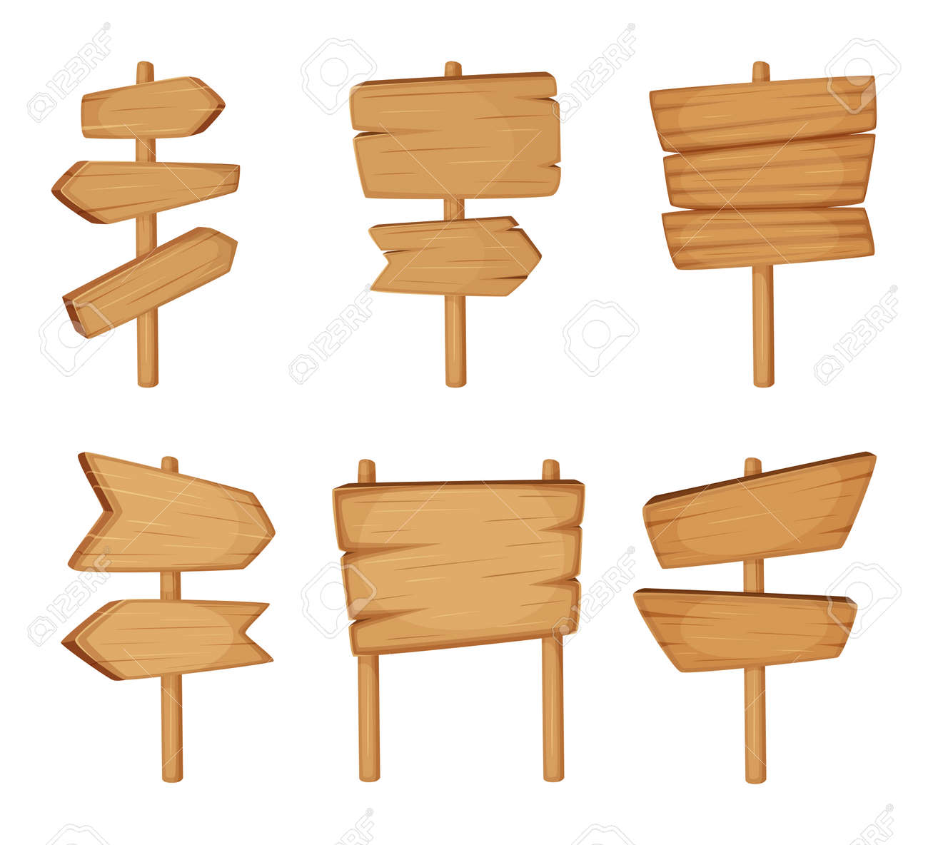 Signboard with wood texture. Vector set of Wooden arrows and empty road direction signs - 165879064