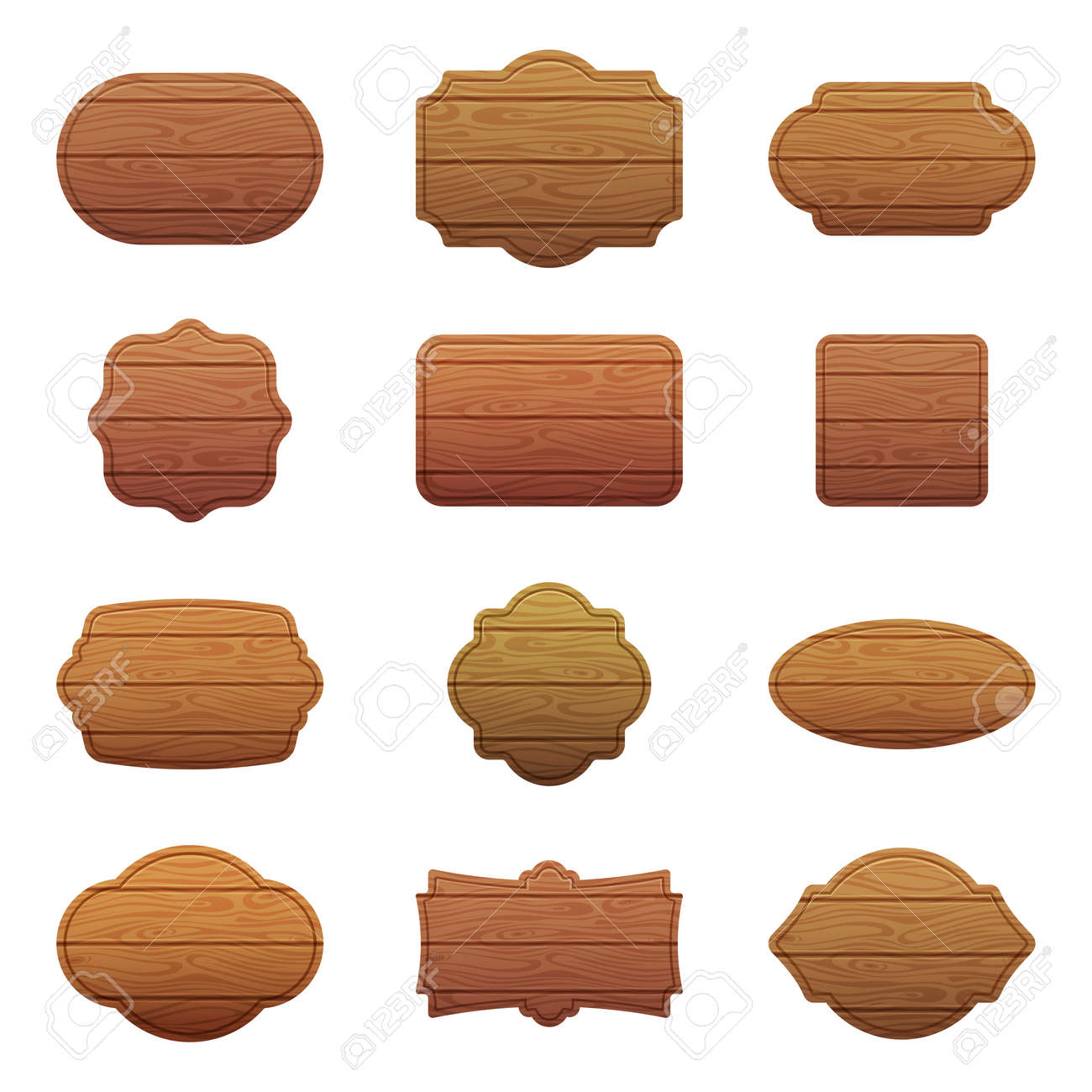 Illustration set of different shapes with wooden texture. Empty vector banners with place for your text - 165879411