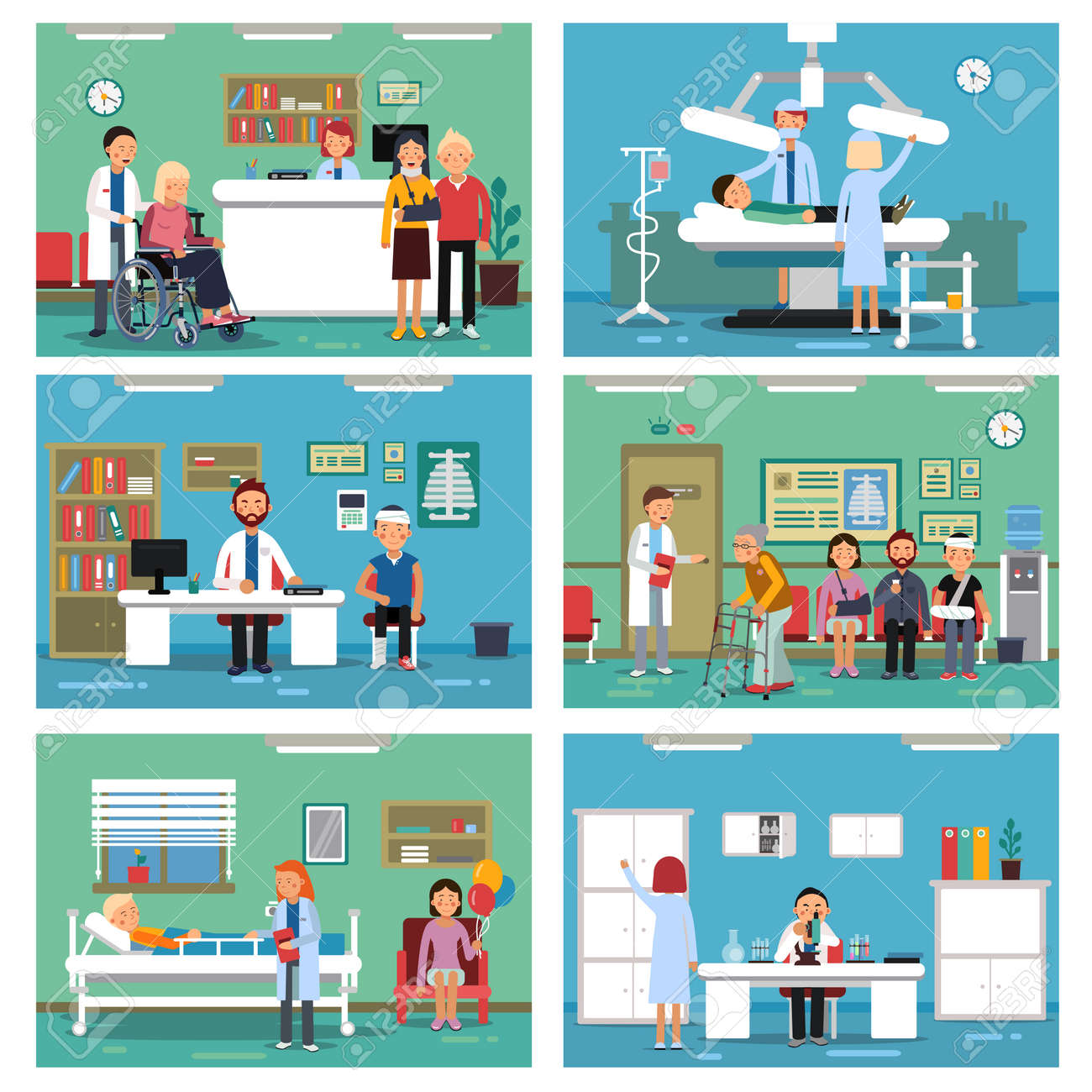 Medical personnel at work. Nurse doctor and patients in hospital interiors. Vector illustration - 165880011