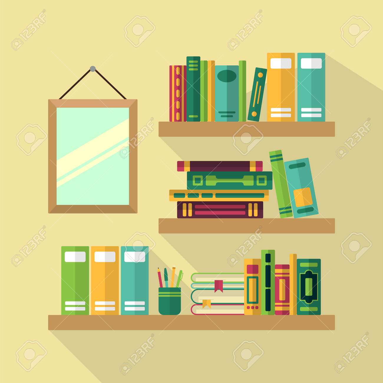 Wood bookshelf in library with different books. Vector illustrations - 165880137