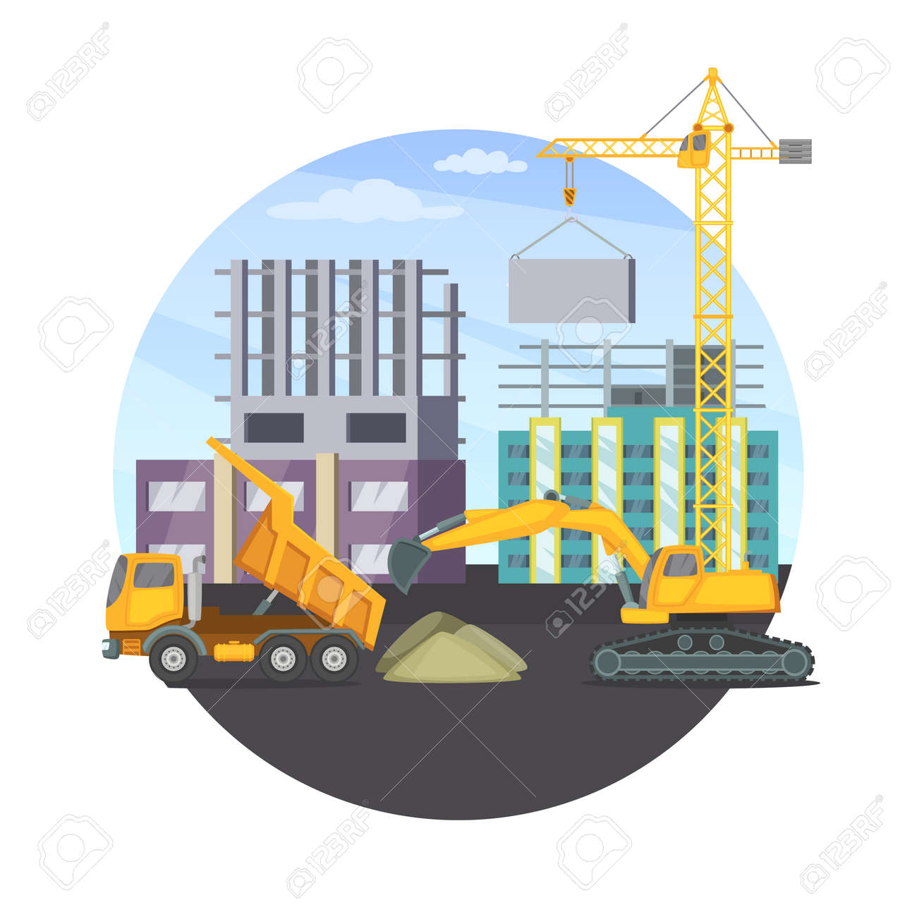 Construction concept with unfinished modern building and different heavy machines. Vector illustration. Machinery truck bulldozer transport - 165995453
