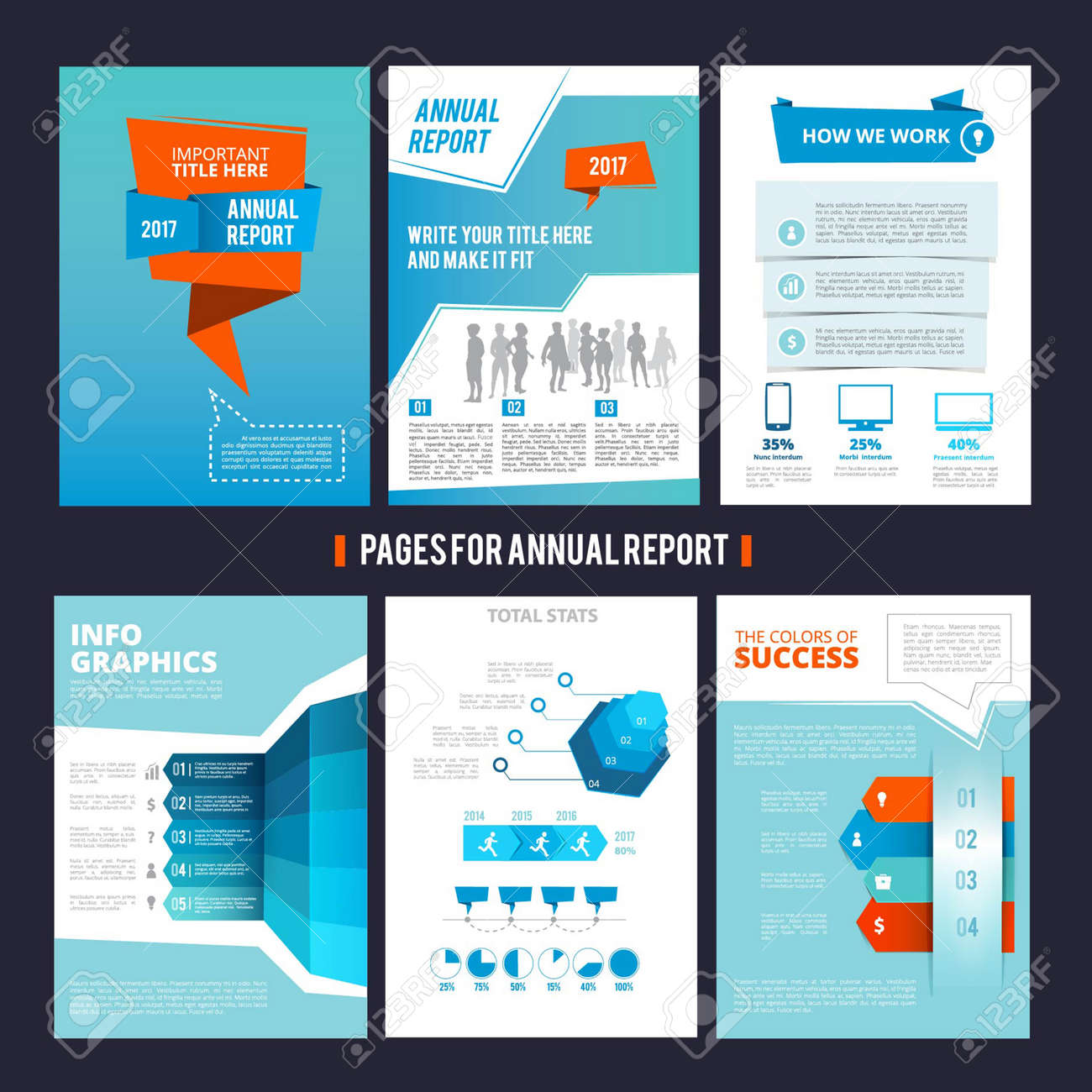Design template of corporation annual report. Vector pages layout with place for your text. Illustration of page brochure template for corporate company - 165996367