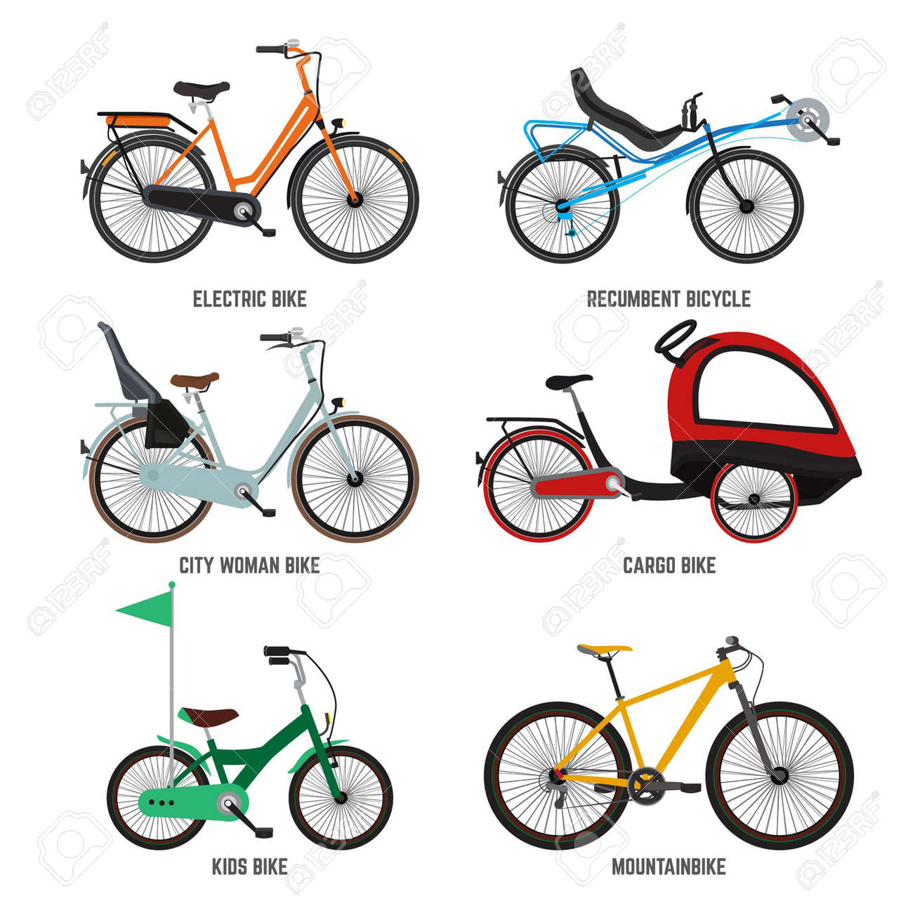 Different type of bicycles for male female and kids. Bikes for family. Vector illustrations kids bike and mountain bike isolate on white - 166034288