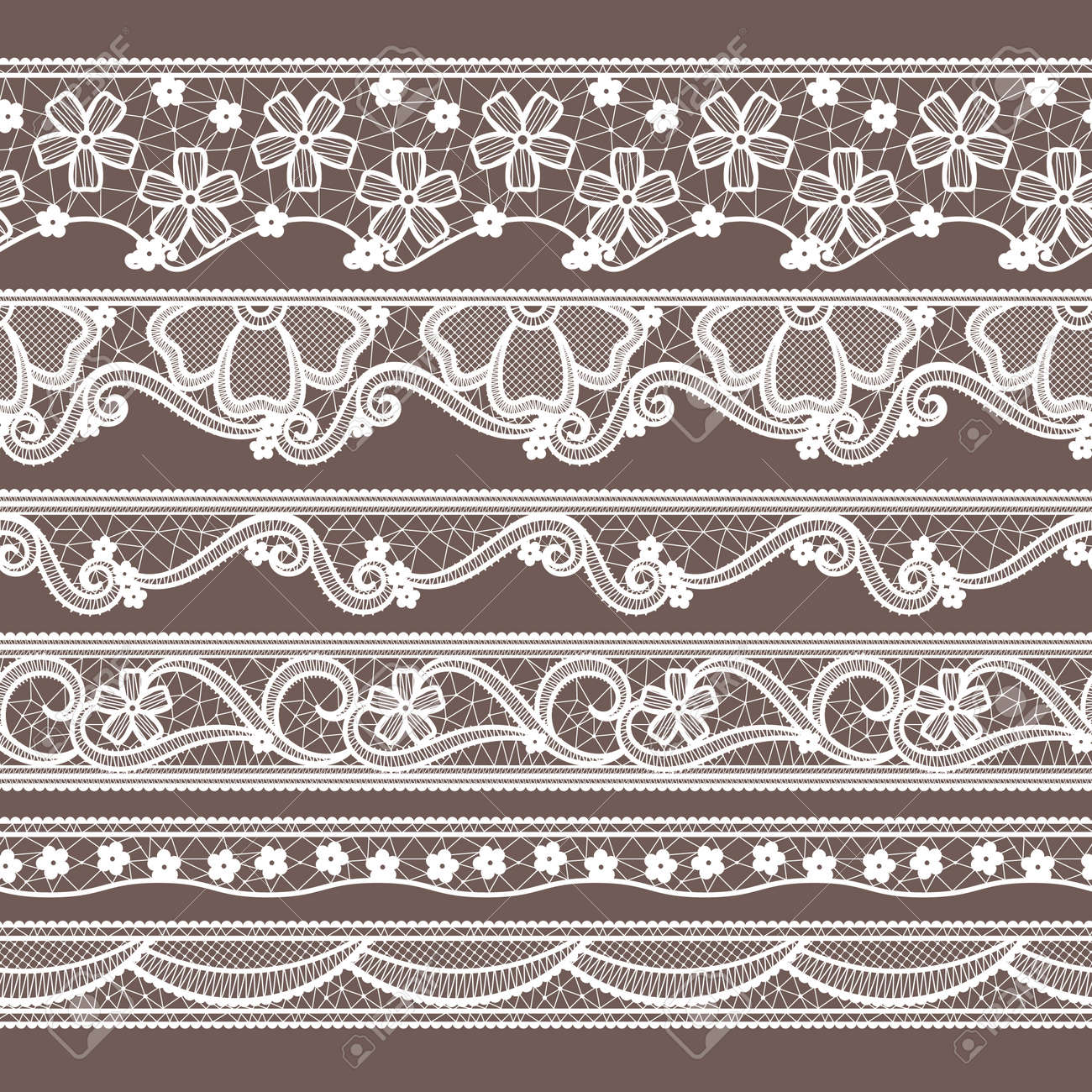 Set of six lace ribbons horizontal seamless patterns. Vector needlework illustrations. Lace pattern decoration textile - 166037033
