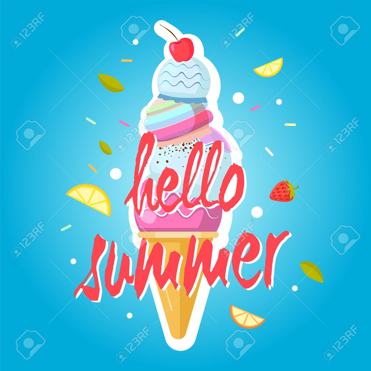 Hello summer ice cream cone, colorful background. Color sweet ice cream food, dessert ice-cream, vector illustration - 166035205