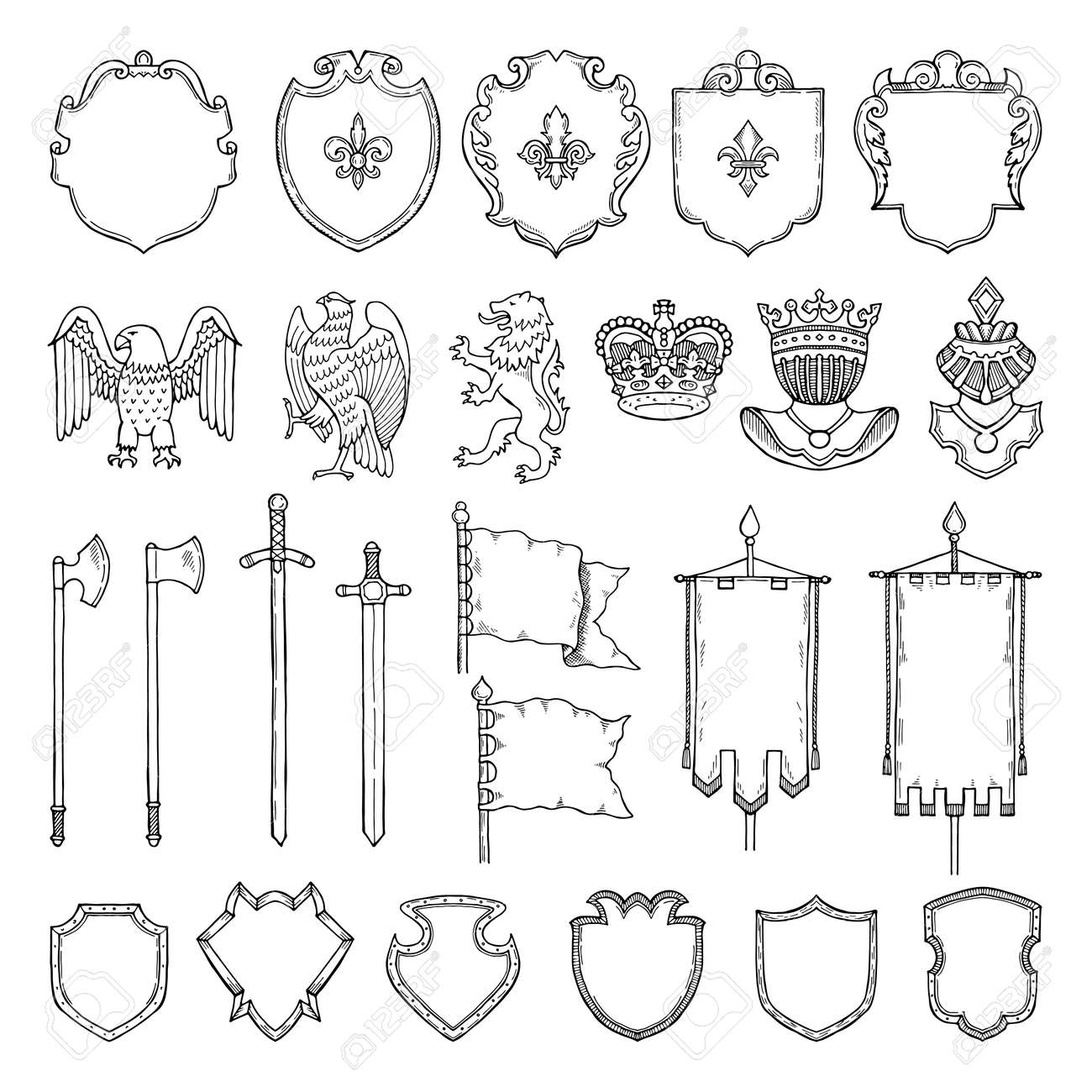 Medieval heraldic symbols isolate on white. Vector hand drawn illustrations. Medieval emblem royal crown and ancient sword - 166036680