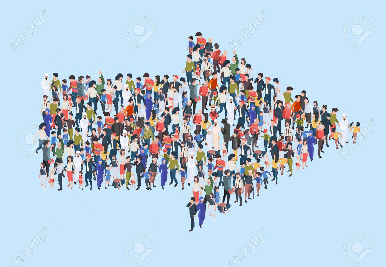 Crowd arrow. Success people walking in direction arrow shapes large growing group of persons garish vector marketing concept isometric illustration. Crowd direction, people follow to arrow - 166409439