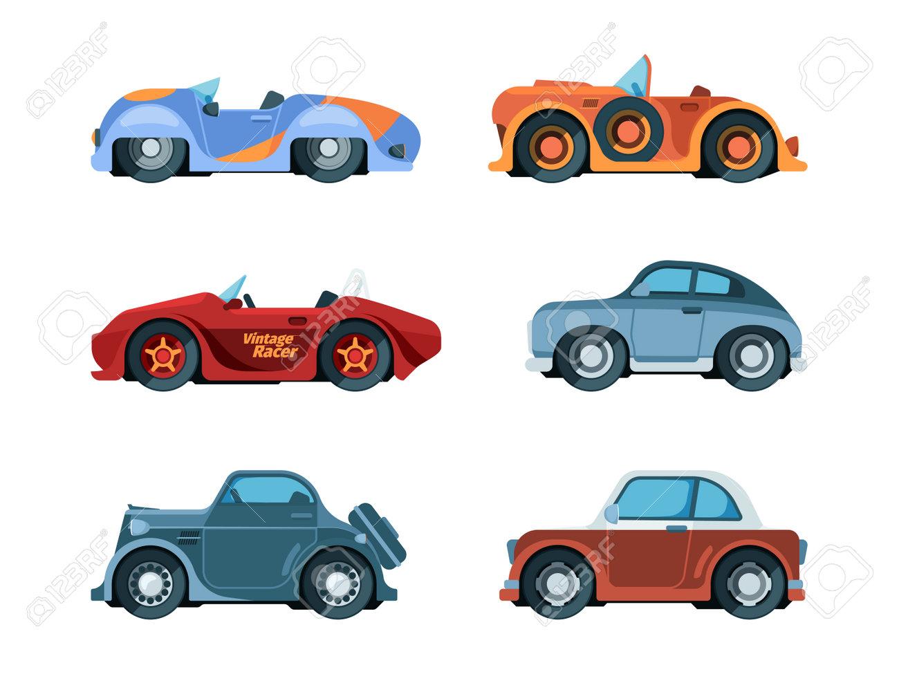 Retro cars. Old style vehicles urban transportation wheels driving car garish vector vintage collection in flat style. Car retro, classic old vintage vehicle illustration - 166224065
