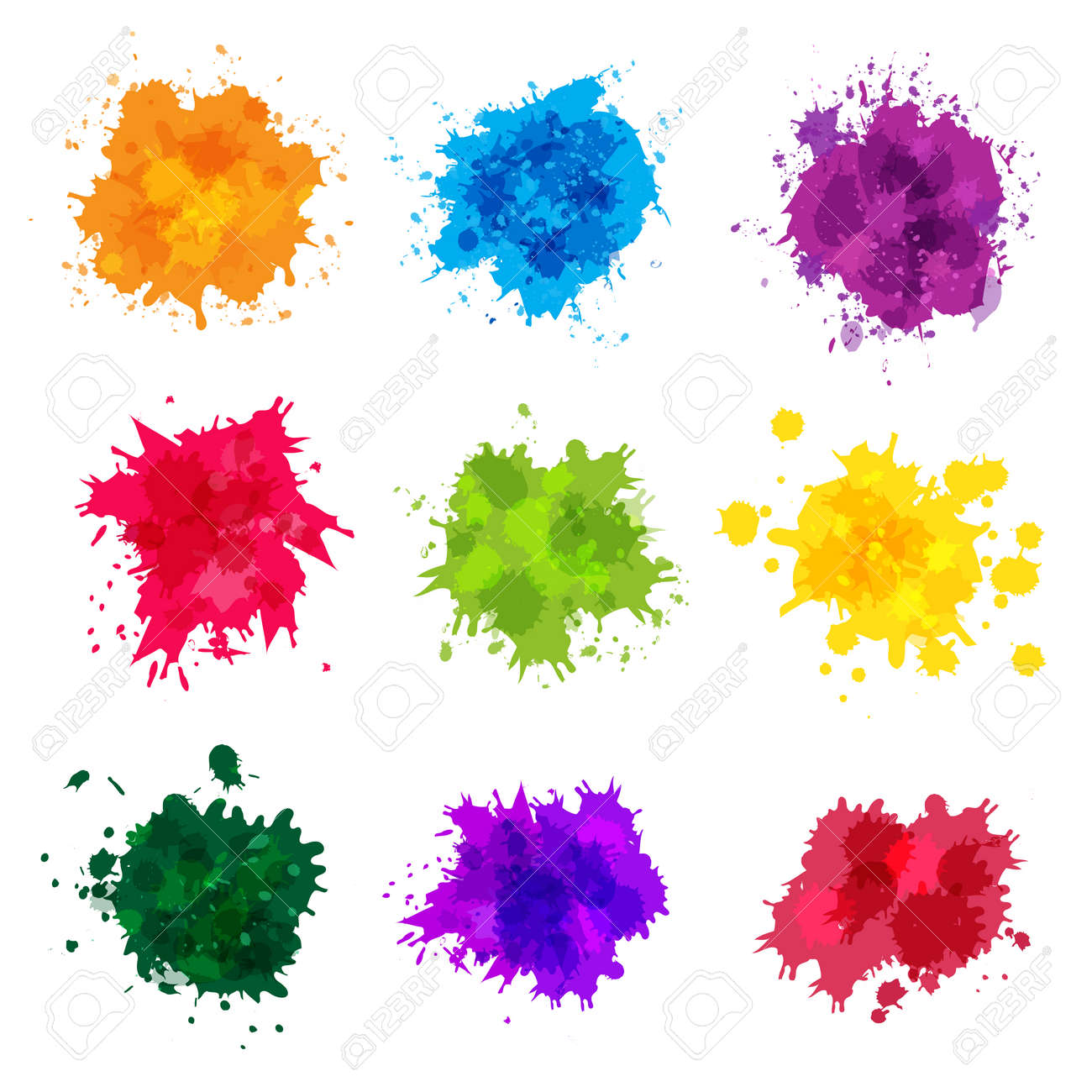 Paint splashes. Colored backdrop abstract splatter graphics ink yellow blue green magenta recent vector collection splashes template. Splatter green and blue splash, stain artistic dirty illustration - 166223471