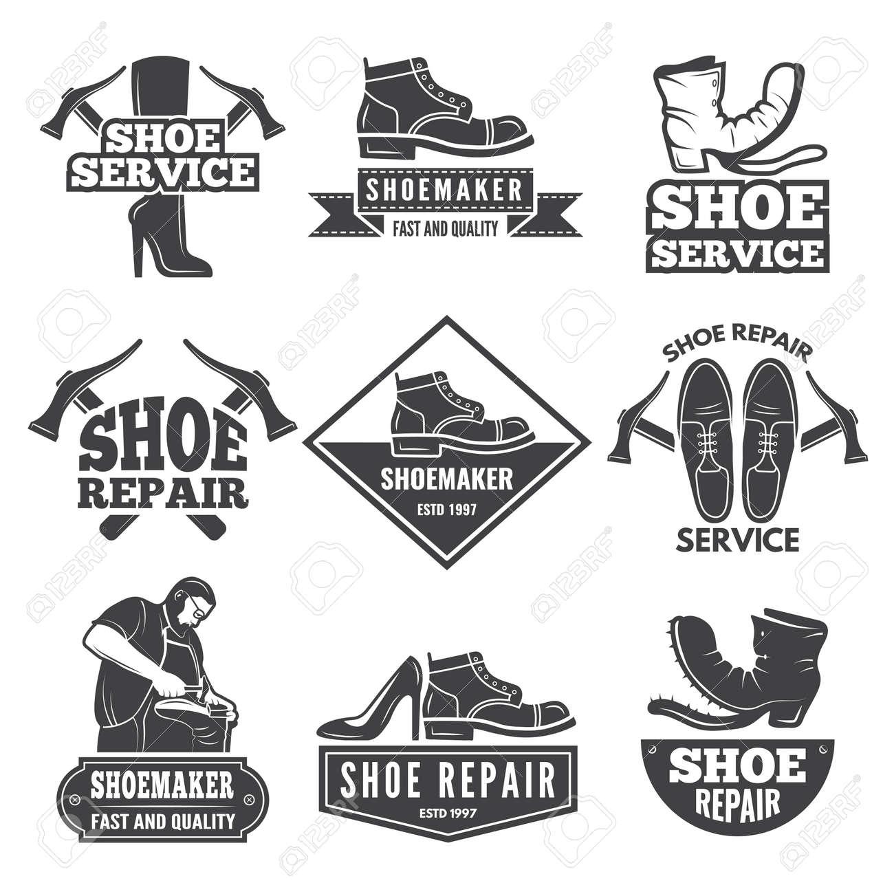 Vintage monochrome labels and logos for shoe repair workshop. Repair shoe emblem, badge shoemaker company. Vector illustration - 166842650