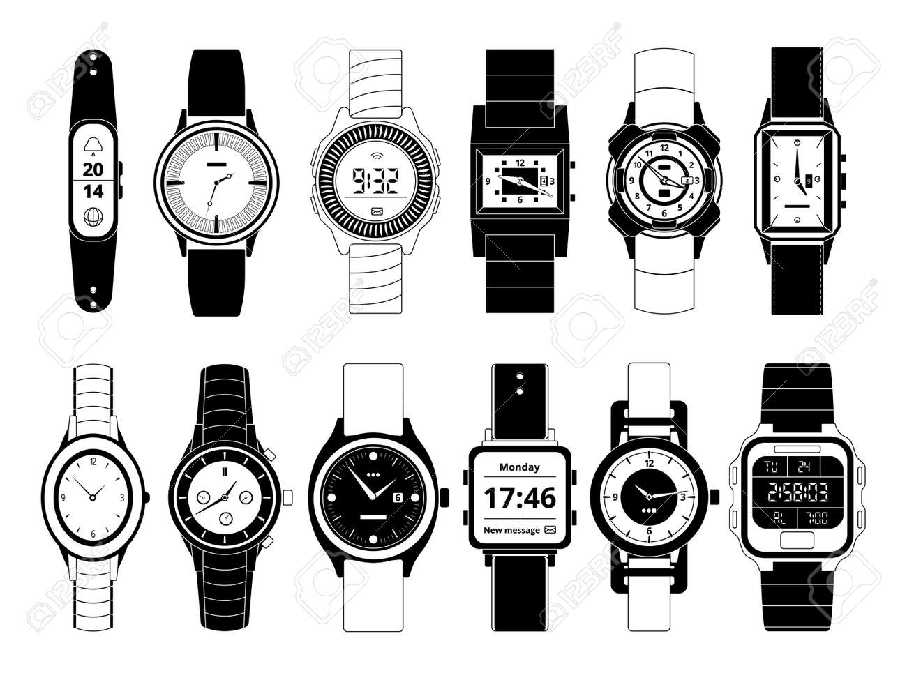 Mechanical and electronic sport hand watches in monochrome style. Vector pictures set isolate on white. Wristwatch digital electronic and mechanical, fashion and sport illustration - 166842876