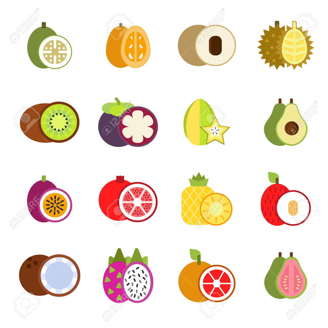 Guava, mango and others illustrations of tropical fruits in flat style. Tropical papaya and guava food, fresh fruit exotic vector - 166843107