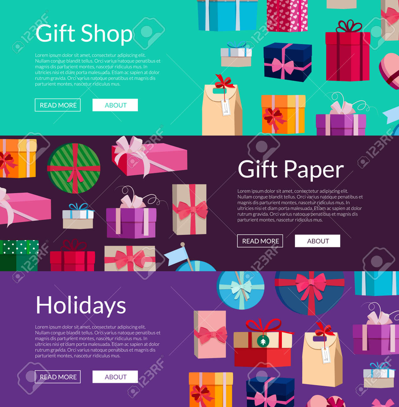 Vector horizontal banners with a lot of gift boxes or packages illustration - 166843555