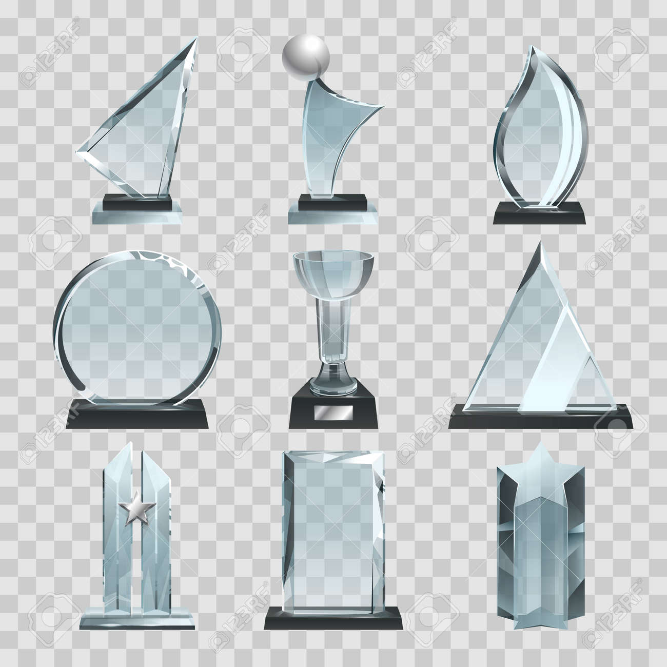 Glossy transparent trophies, awards and winner cups. Vector illustration. Achievement glass for winner championship, acrylic trophy sport - 166843560