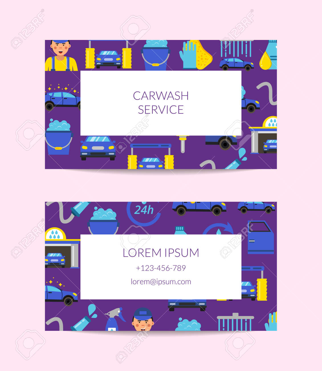 Vector business card template for car washing service isolated on white illustration - 166849250