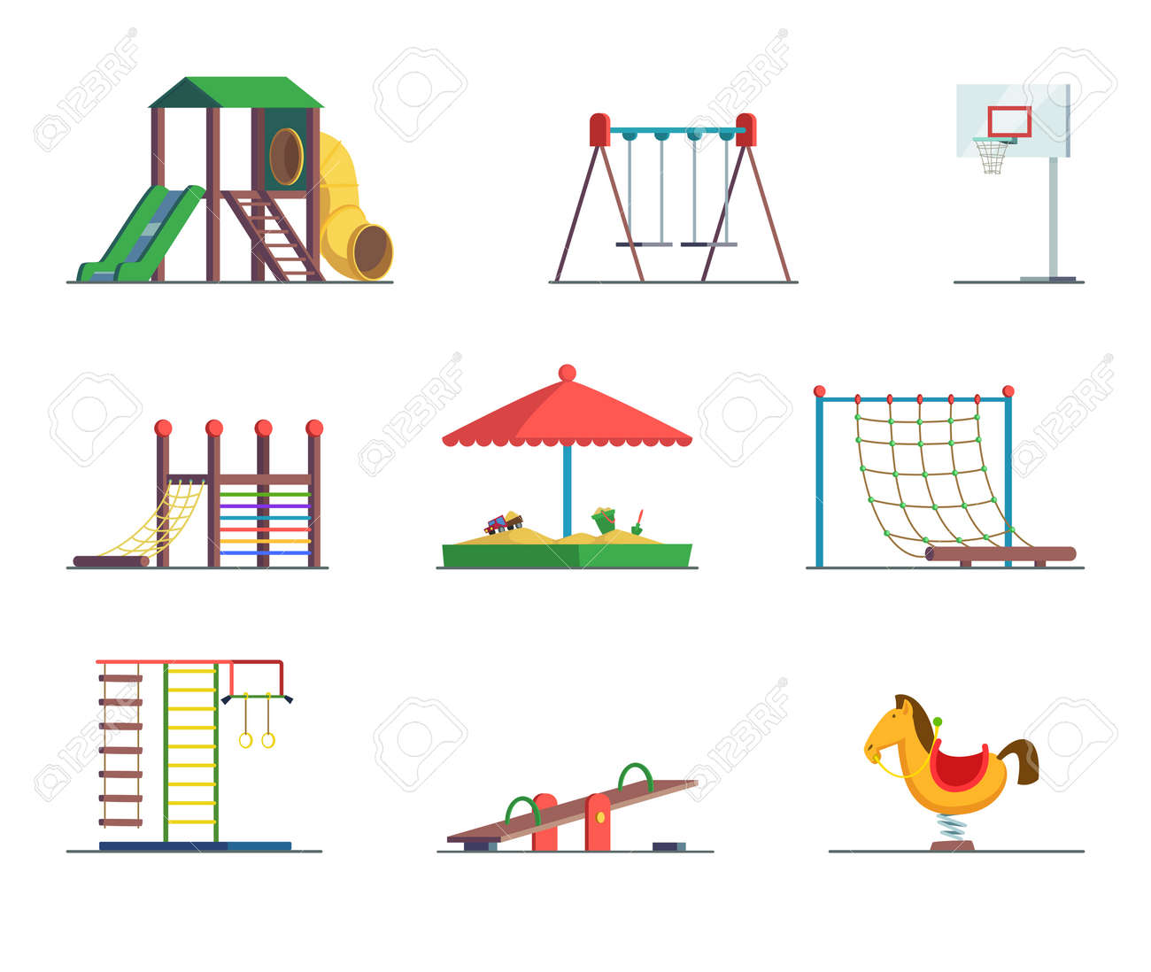 Playground equipment. Fun area for kids. Vector set playground and swing for amusement park illustration - 166849292