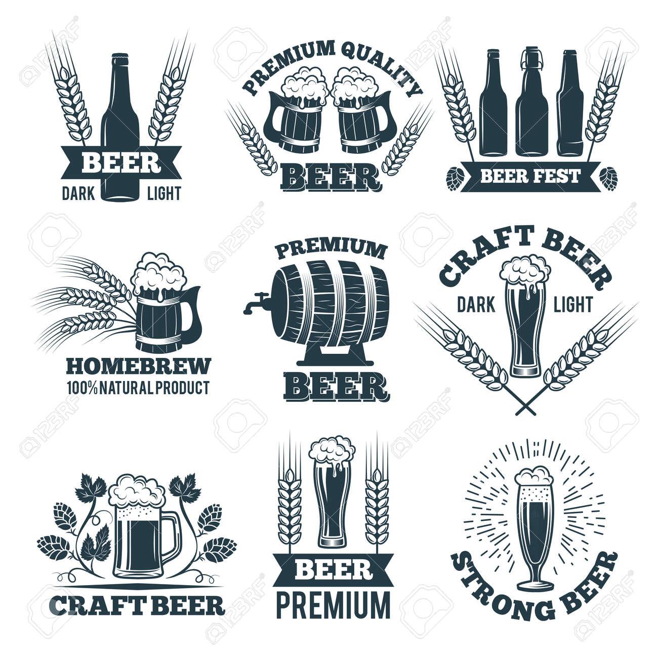 Labels or badges set of beer. Elements for emblem or logo design. Beer badge and label emblem, brewery logotype vector illustration - 166849390