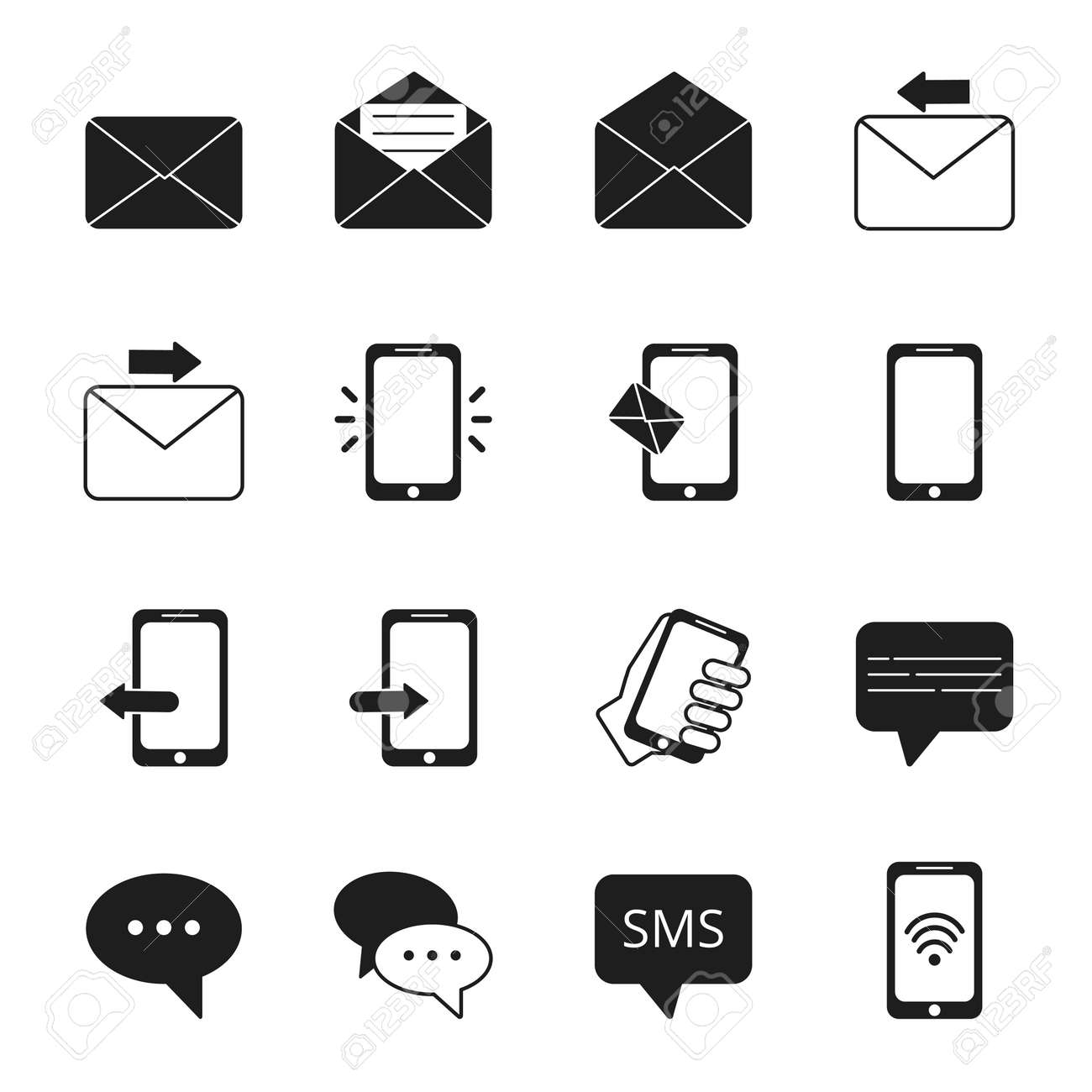 Business icon set of communication symbols. Phone, message bubbles, email signs. Message email and phone, telephone contact, speech bubble. Vector illustration - 166849470