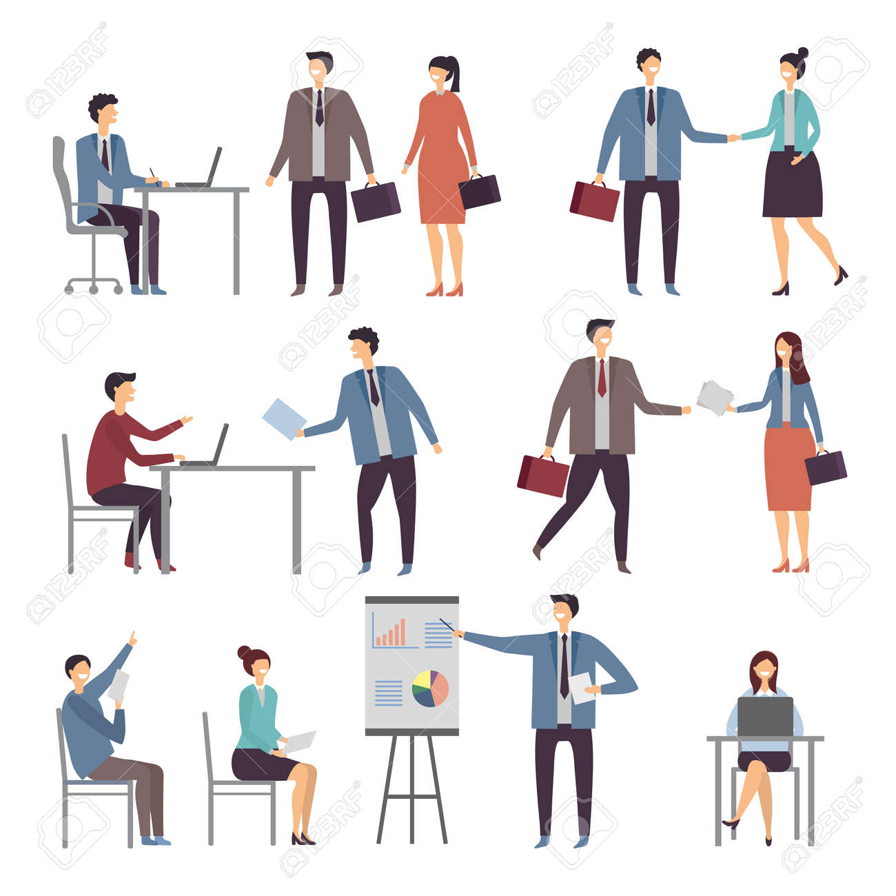 Various scene of active business people in office. Dialogues businessman and worker, person communication illustration - 166849504