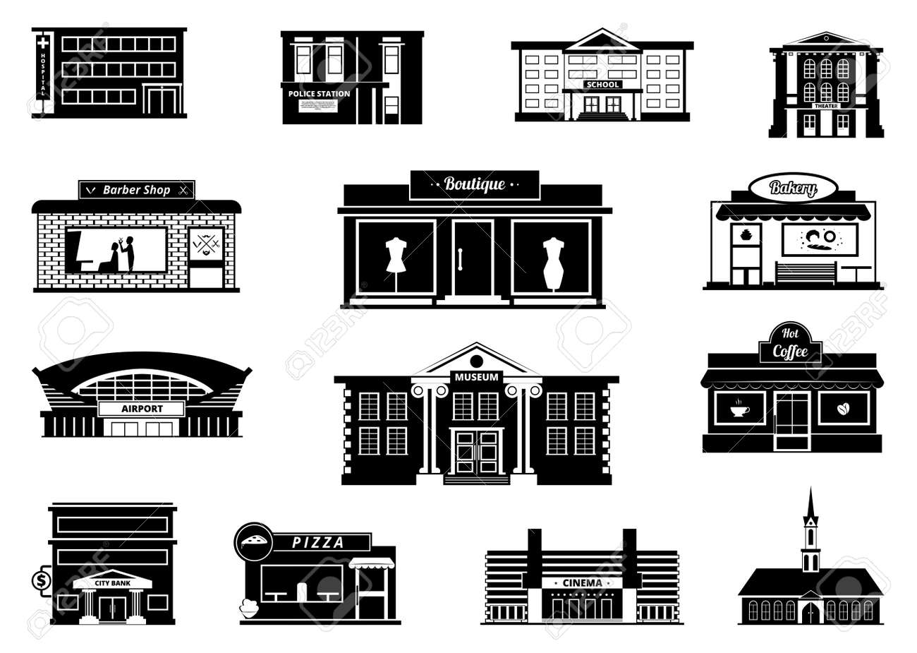 Shops, markets and others municipal buildings. Monochrome urban vector illustrations. Building shop and market, store and bakery - 166863797