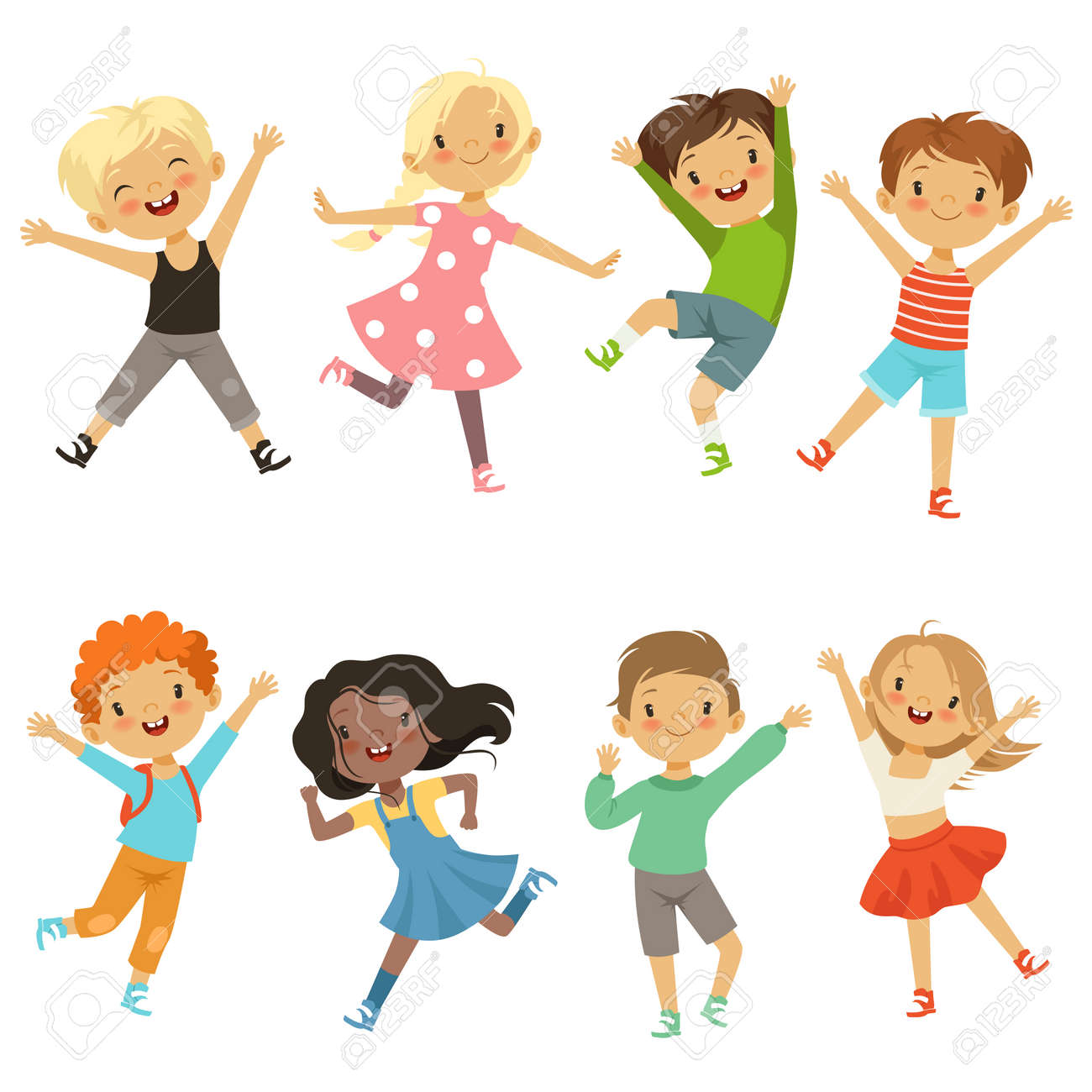 Active kids in different action poses. Vector illustrations - 167394470