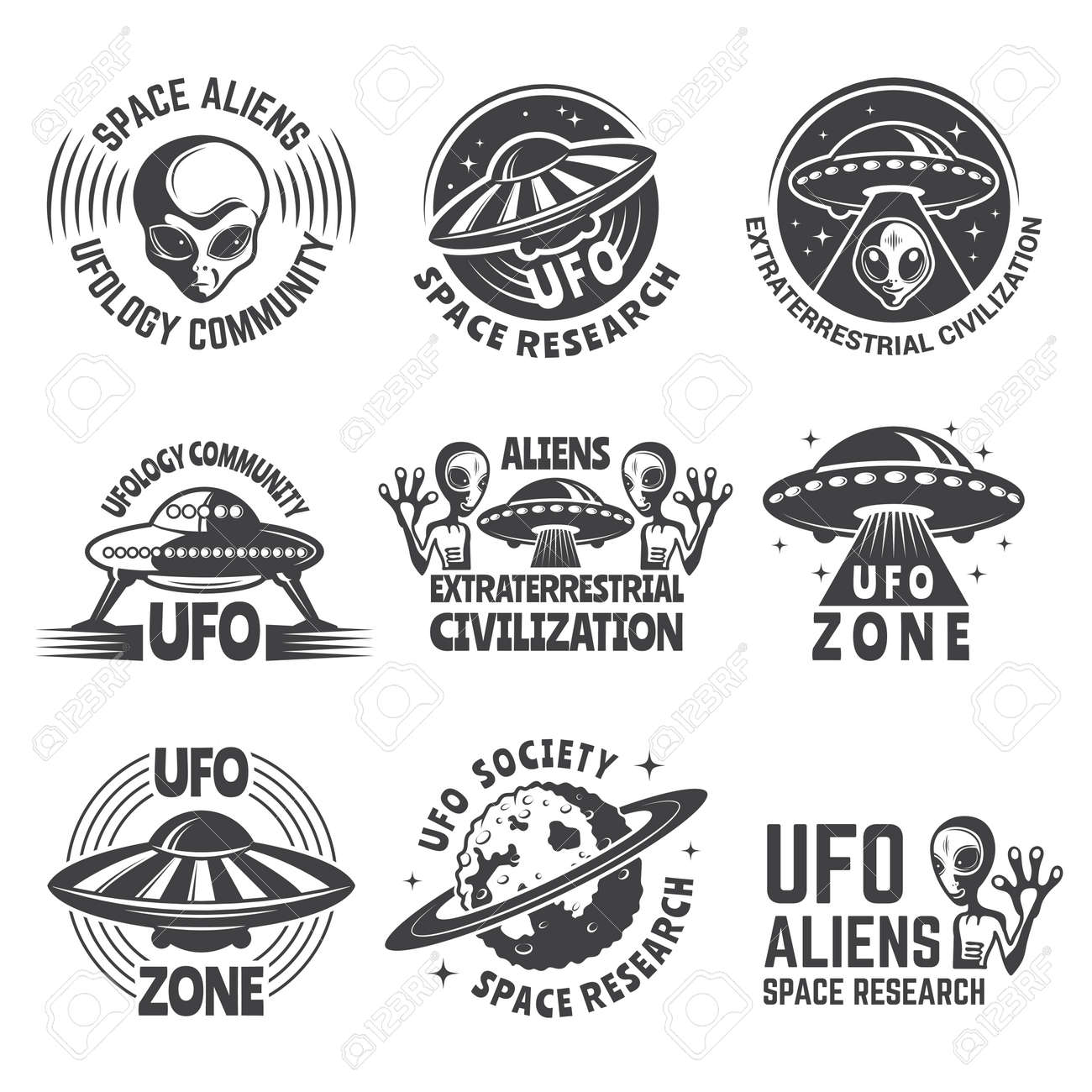 Monochrome labels or badges with pictures of aliens, ufo and space - 167465776