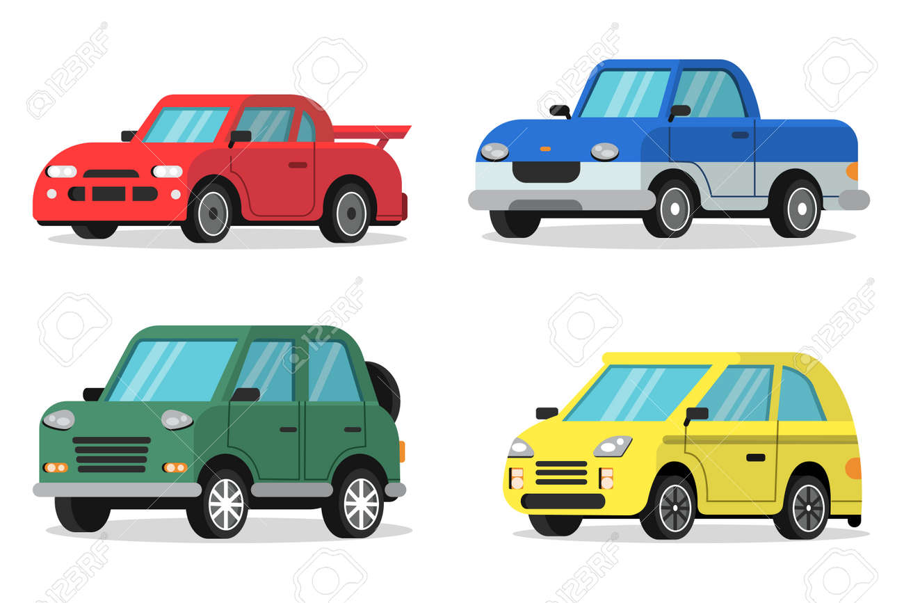Flat illustrations of cars in orthogonal projection - 167465789