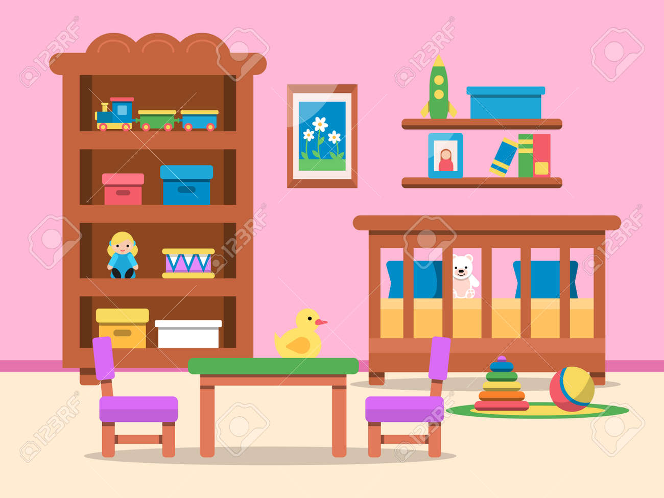 Vector picture of kids room interior. Bed, table and various toys - 167465817
