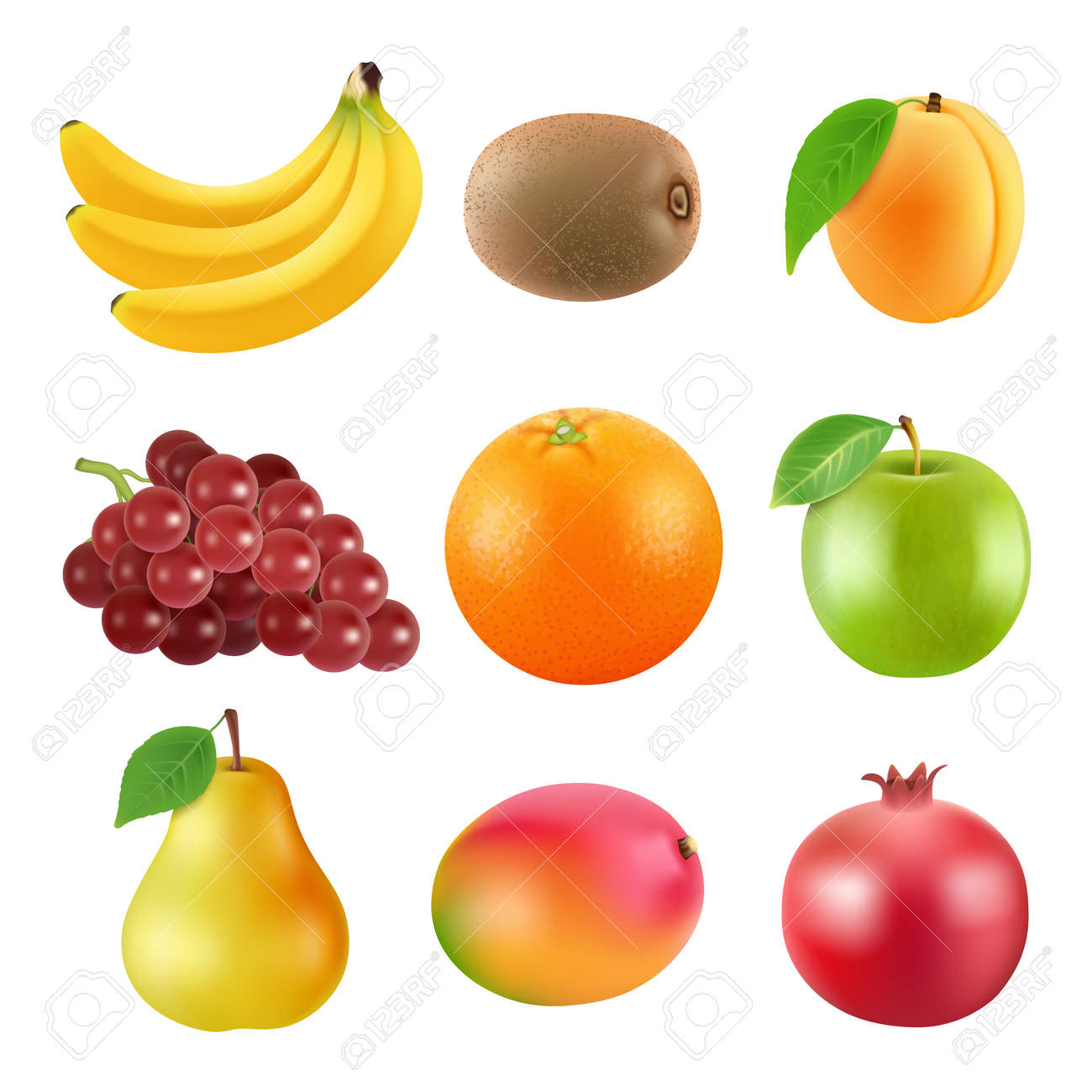 Different illustrations of fruits. Realistic vector pictures isolate on white - 167524080