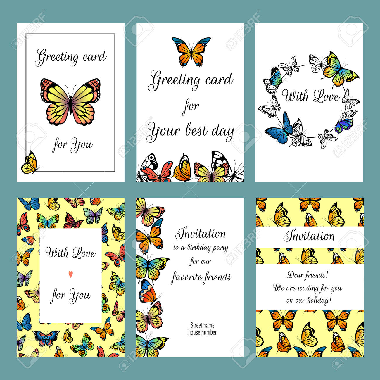 Cards with butterflies. Design template of cards invitation with illustrations of colored butterflies - 167536774