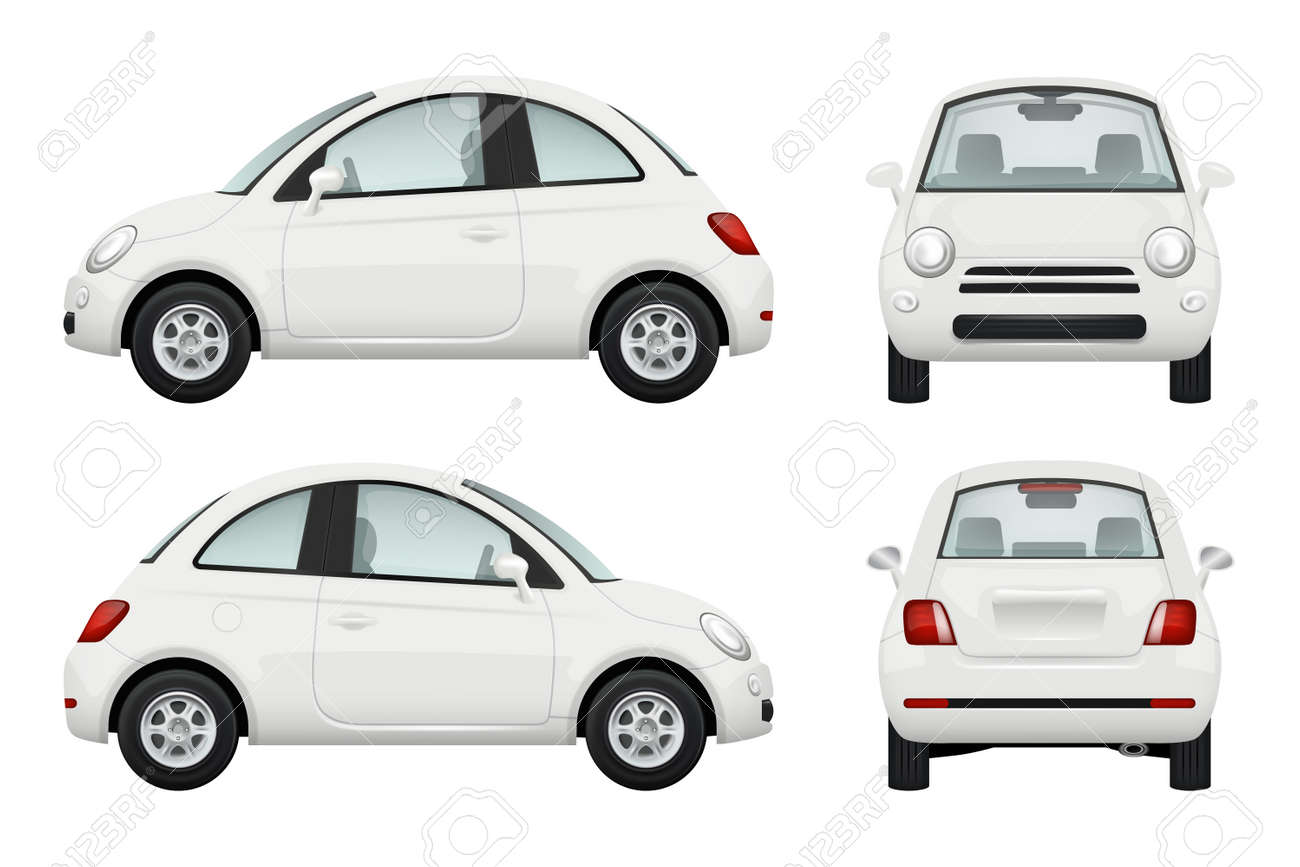 Passenger car. Different view realistic illustrations of cars - 167538756