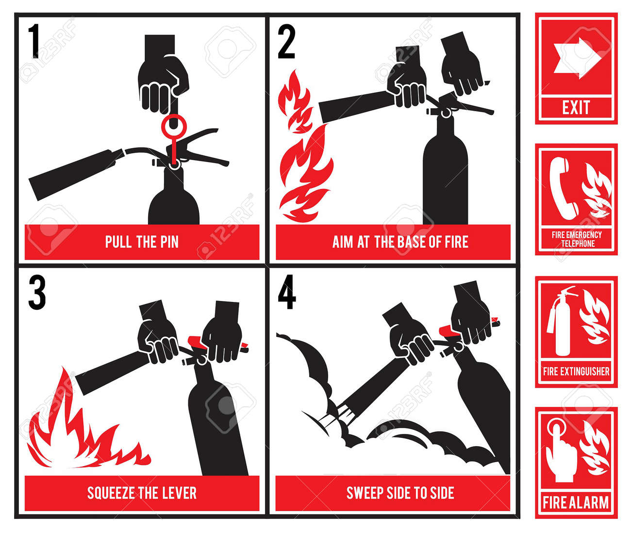 Fire fighting technical illustration. Vector silhouette of fire extinguisher - 167587585