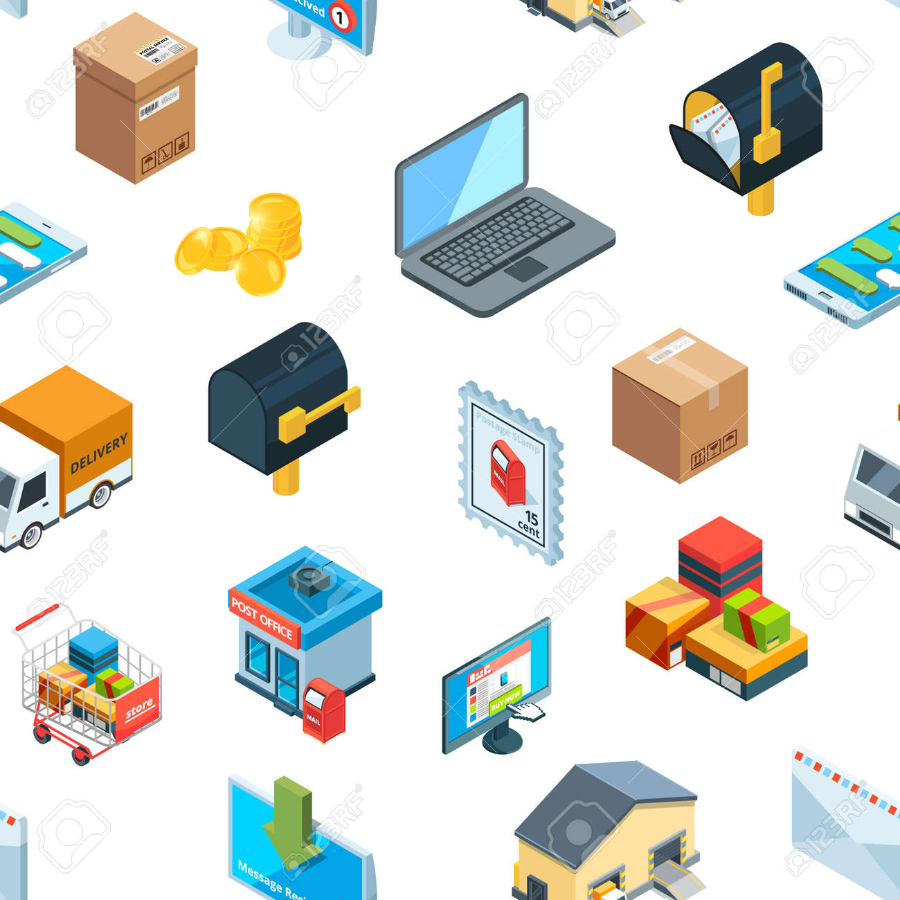 Vector isometric logistics delivery icons pattern background illustration - 167543390
