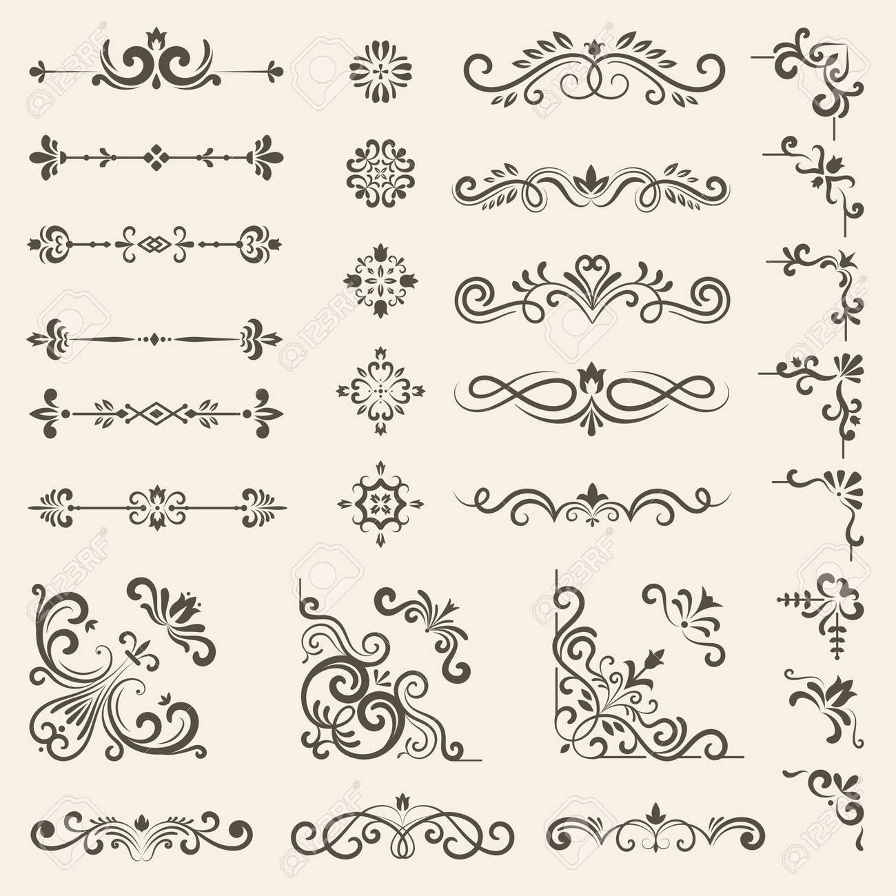 Decorative ornate set. Vintage floral dividers and borders royal premium style decoration vector set - 167403182