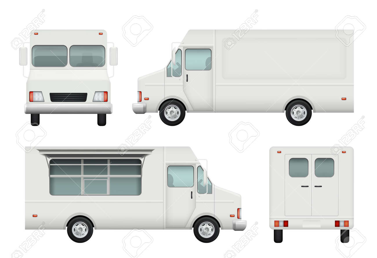 Food truck realistic. White automobile of street food delivery catering 3d vector pictures. Delivery truck food, vehicle car restaurant illustration - 168206719