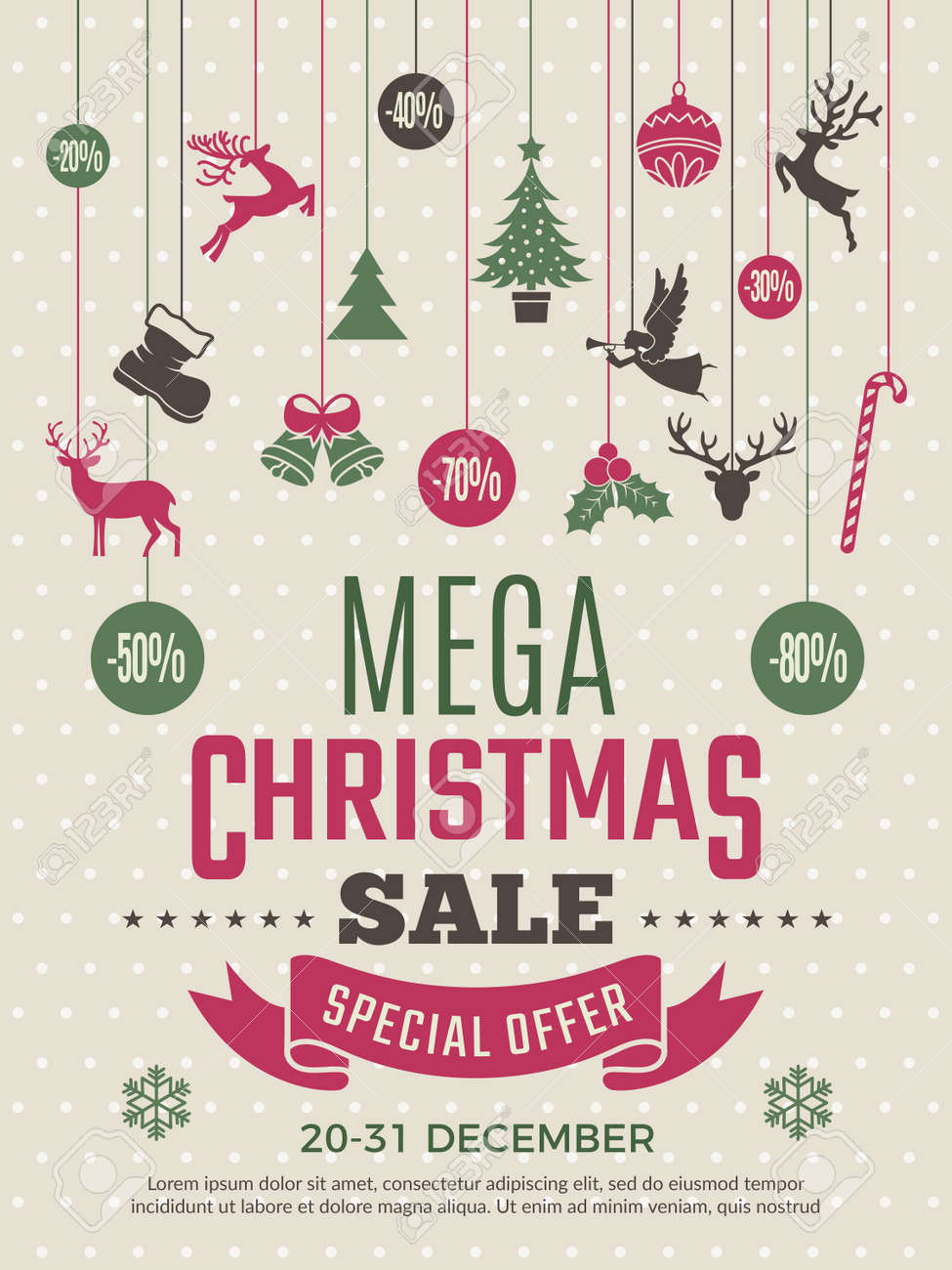 Christmas poster for big sales. New year voucher deals discounts vector coupon template. Illustration of mega banner sale for xmas and new year - 168206861