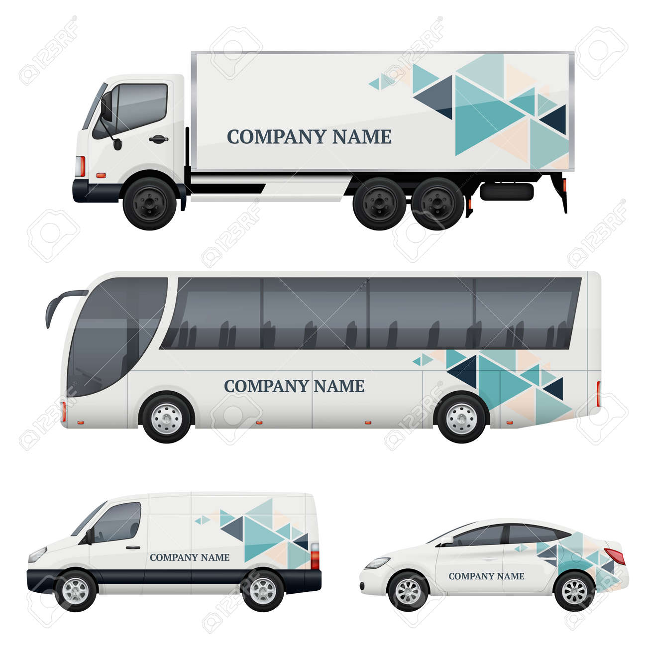 Vehicle branding. Transportation advertizing bus truck van car realistic vector mockup. Illustration of bus and van truck, vehicle car transport - 168206921