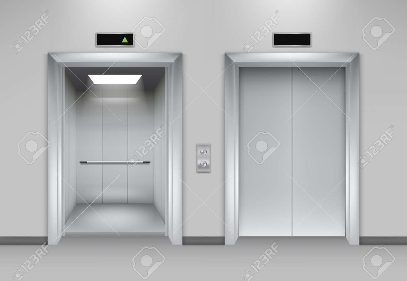 Lift doors building. Business office facade interior realistic closing opening doors elevator chrome metal buttons vector pictures. Illustration of lift door, panel metal, transportation office indoor - 168206929