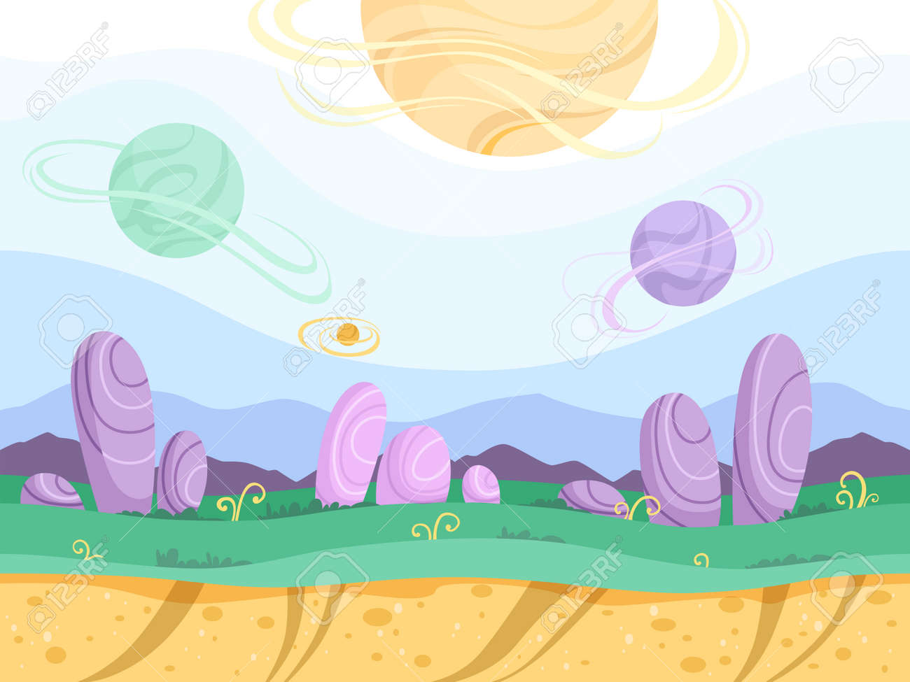 Alien seamless background. Moon surface strange futuristic fantasy planet ground explorer mountain 2d games vector cartoon picture. Illustration of landscape game surface level, gui for videogame - 168210249
