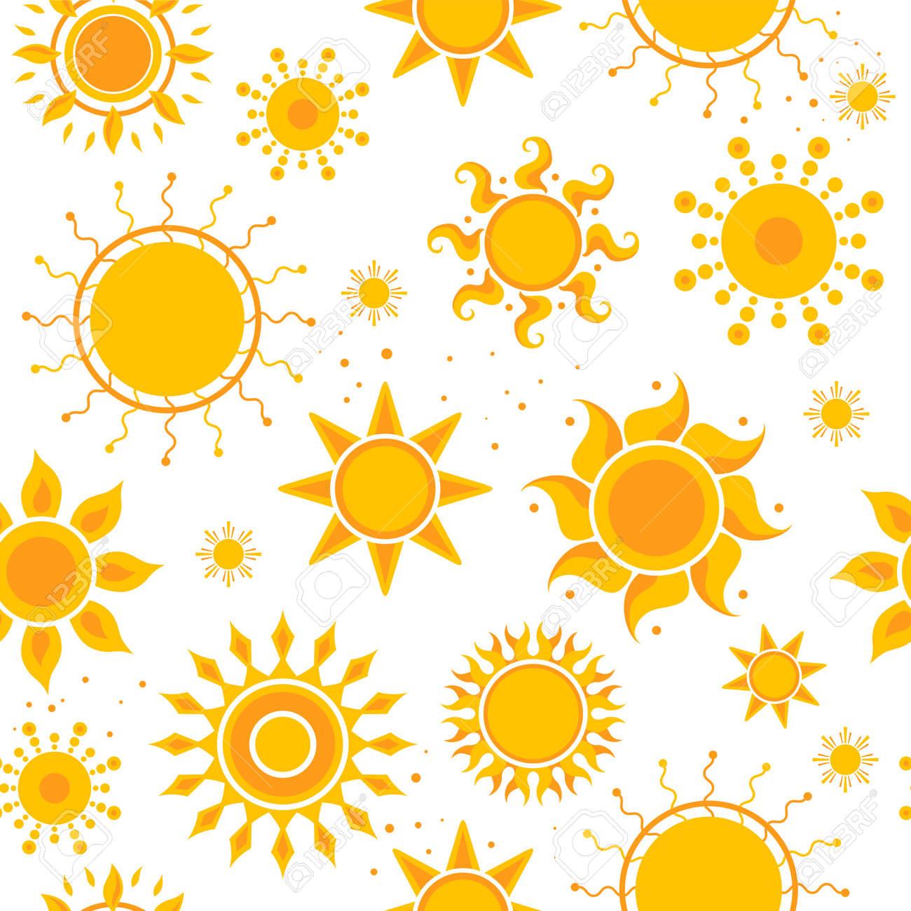 Sun seamless pictures. Weather summer sunshine pictures textile design vector hot pattern. Illustration of sun summer, orange warm pattern seamless - 168222063