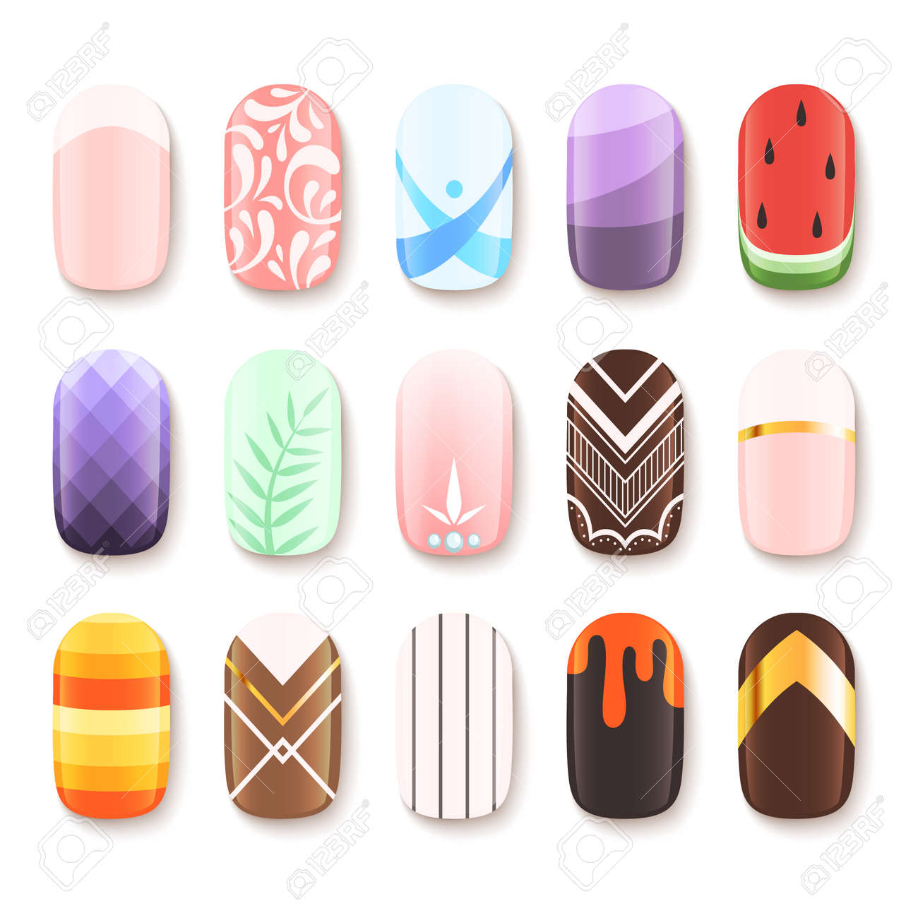 Nail designs. Colored template of finger art design vector pictures cartoon. Illustration of manicure nail, beauty polish glamour - 168222076